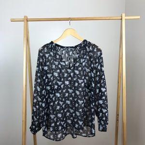 Vince • Calico Floral Shirred Neck Blouse Silk
